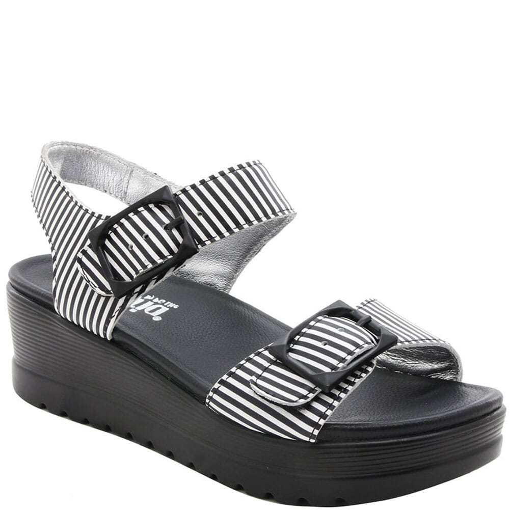 Image for Alegria Women's Morgyn Flatform Wedge Sandals - Black Stripes from elliottsboots