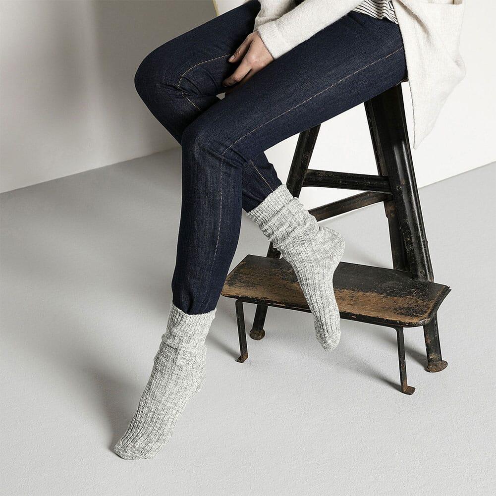 Birkenstock Women's Cotton Slub Sock - Gray/White