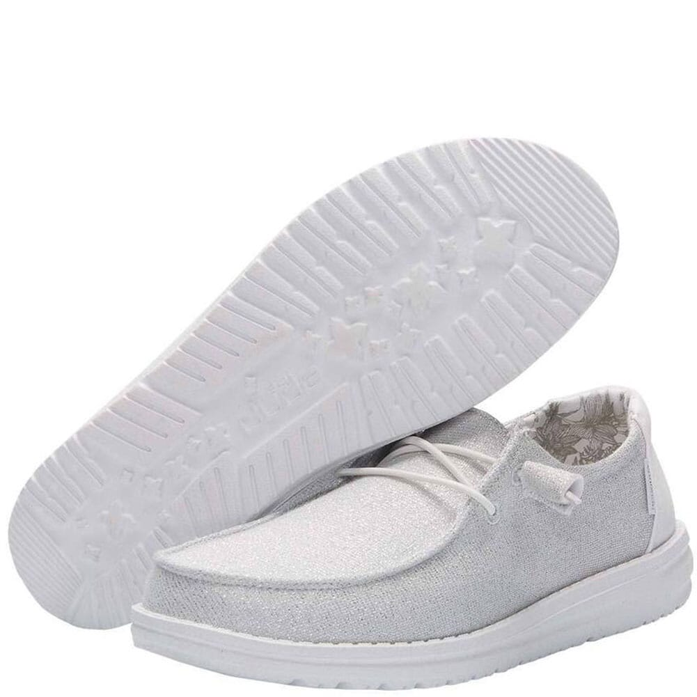 121410161 Hey Dude Women's Wendy Sparkling Casual Shoes - White