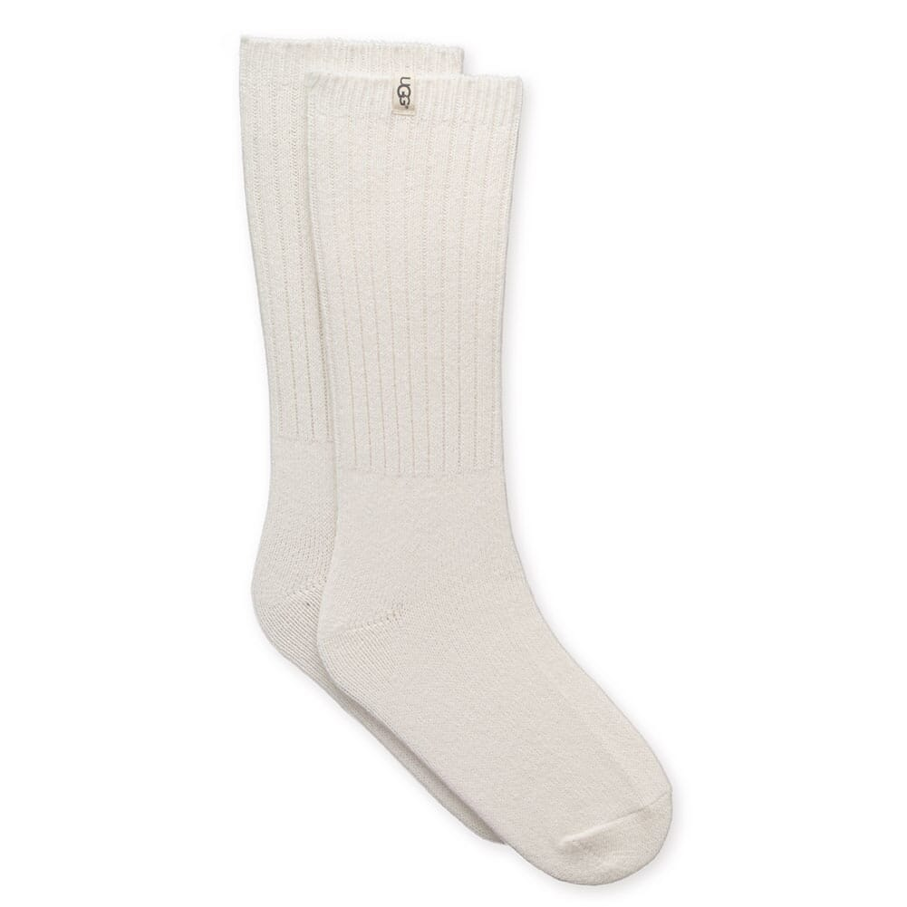 UGG Women's Rib Knit Slouchy Crew Socks - White