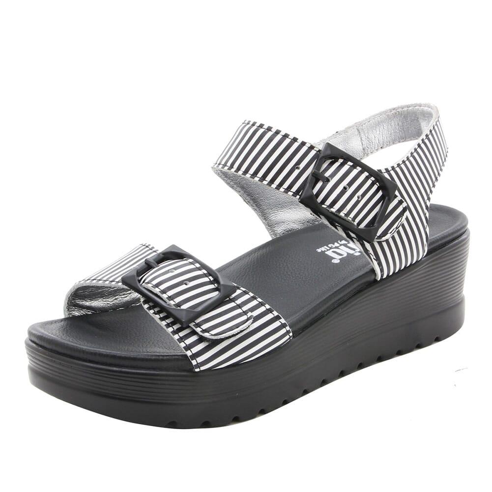 MOR-879 Alegria Women's Morgyn Flatform Wedge Sandals - Black Stripes