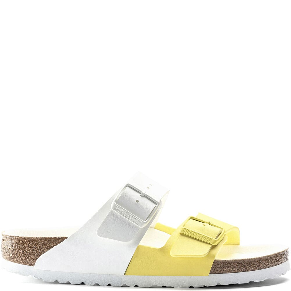 1019754 Birkenstock Women's Arizona Split Sandals - White/Lime Sour