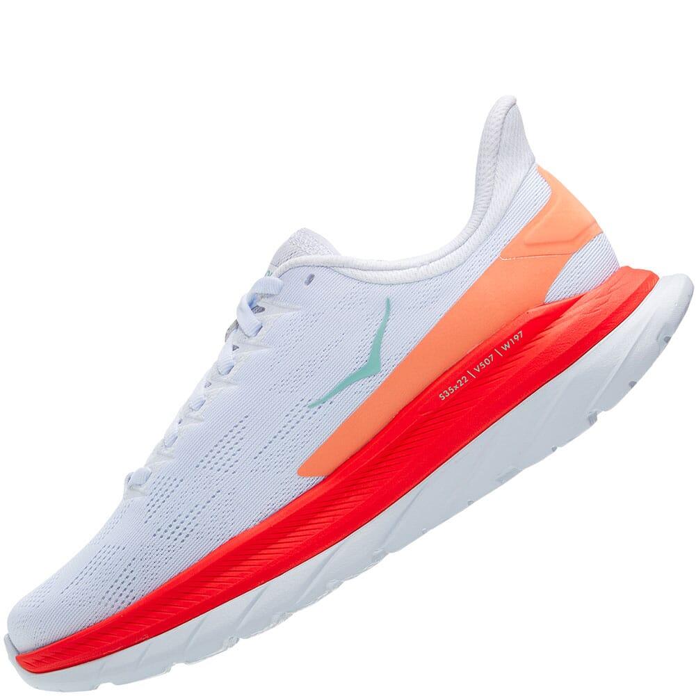 1113529-WFS Hoka One One Women's Mach 4 Running Shoes - White/Fiesta