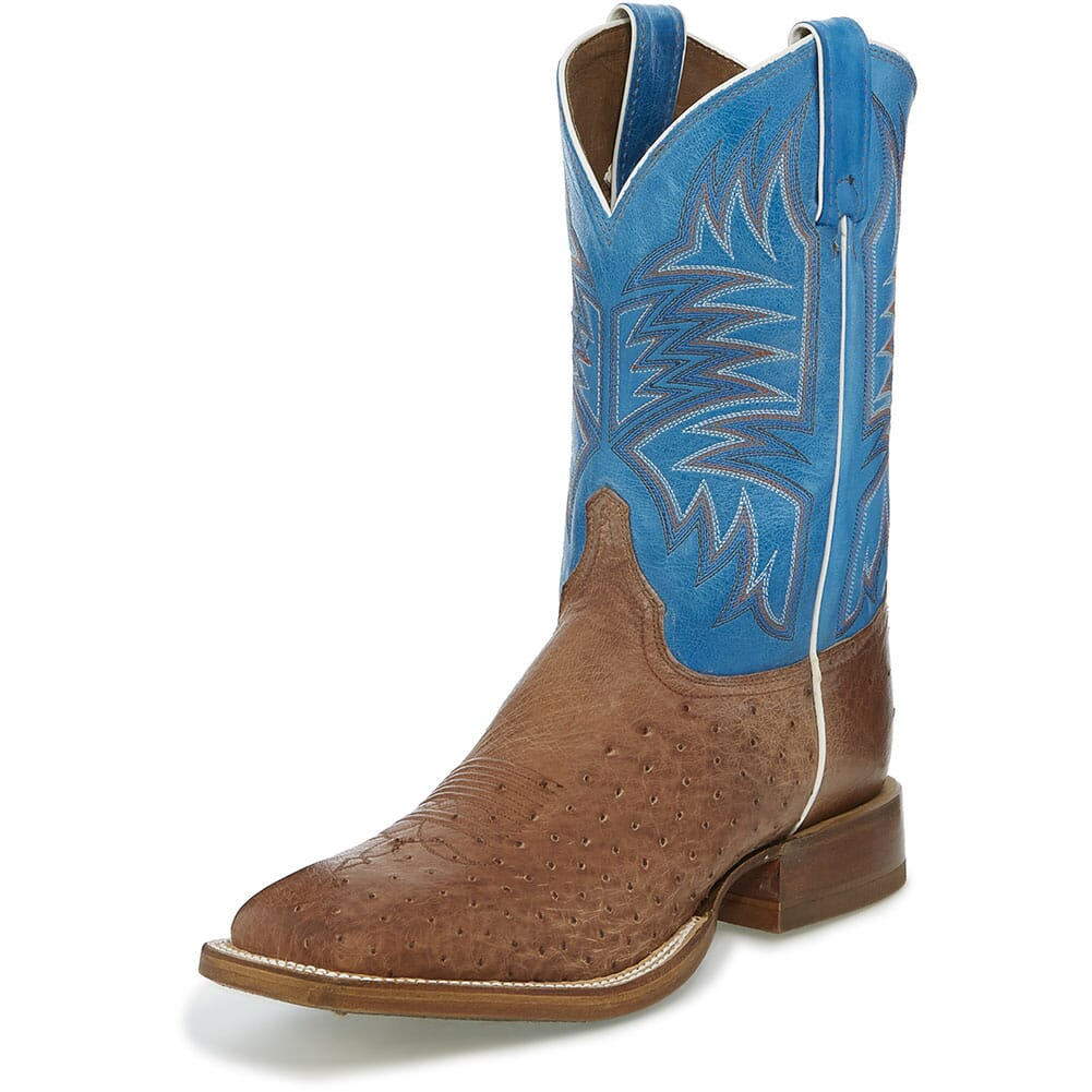 Justin Men's Josiah Western Boots - Aqua Blue/Vintage Dark Brown