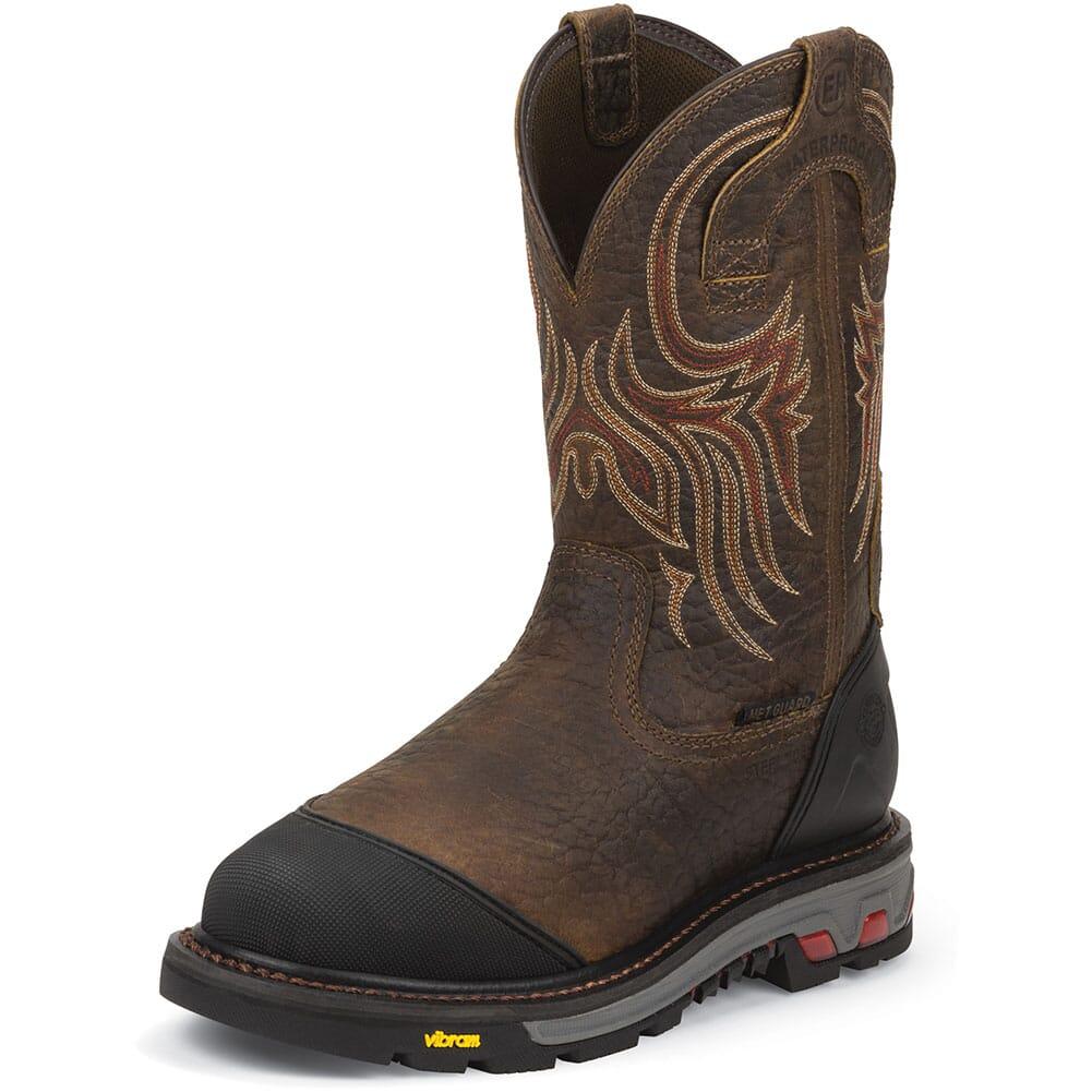 Justin Original Men's Borehole WP Met Safety Boots - Mahogany