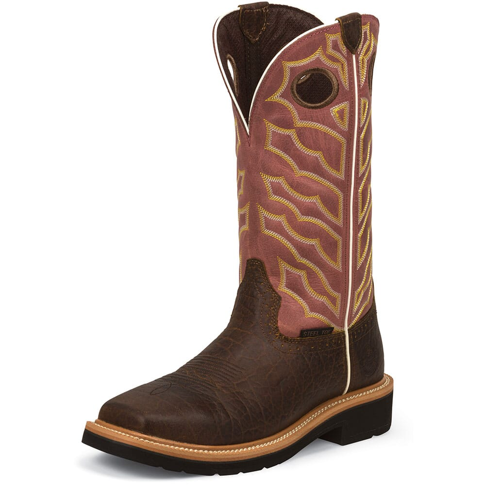 Justin Original Men's Negotiator Safety Boots - Brick Red /Dark Chestnut