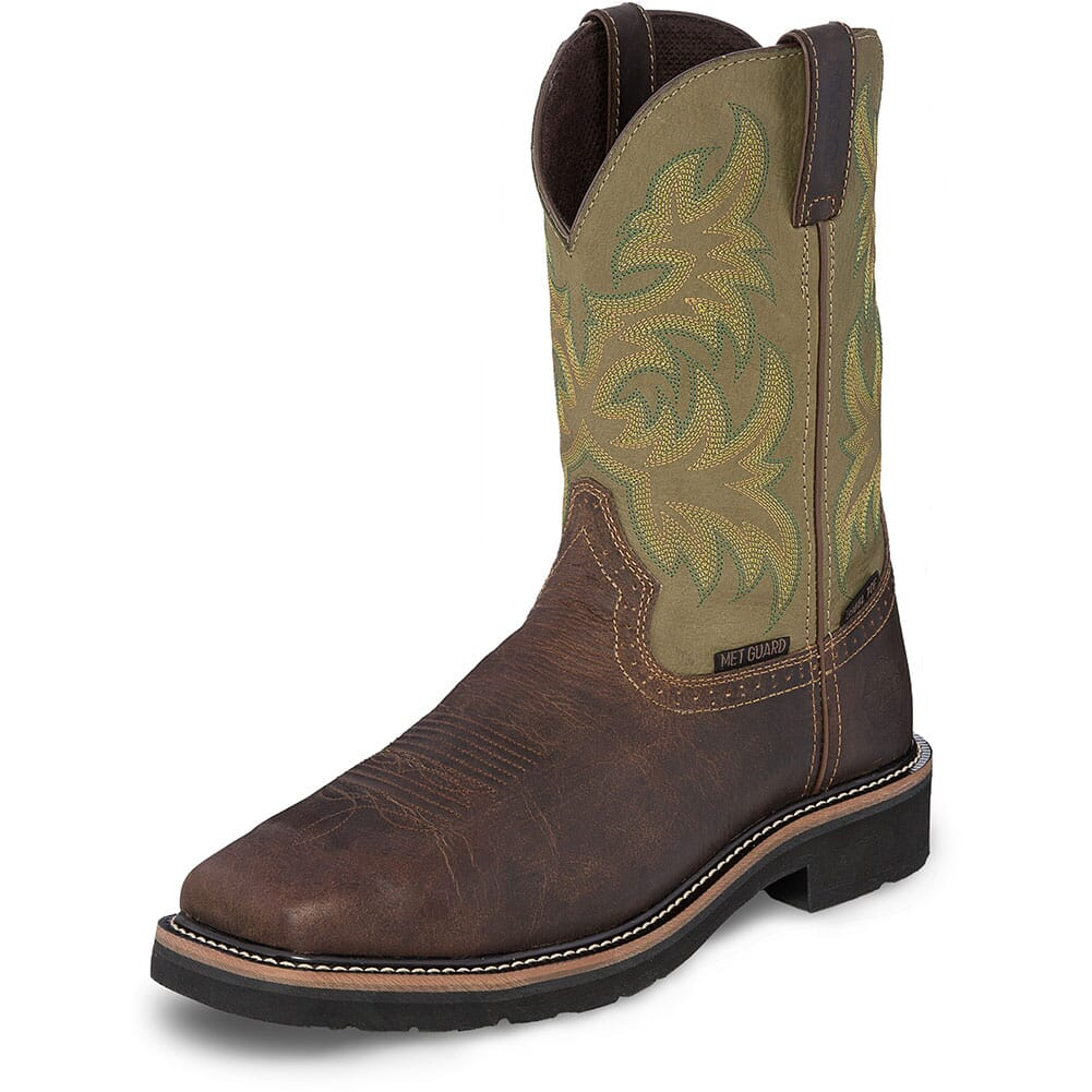 Justin Original Men's Keavan WP Safety Boots - Moss Green/Brown