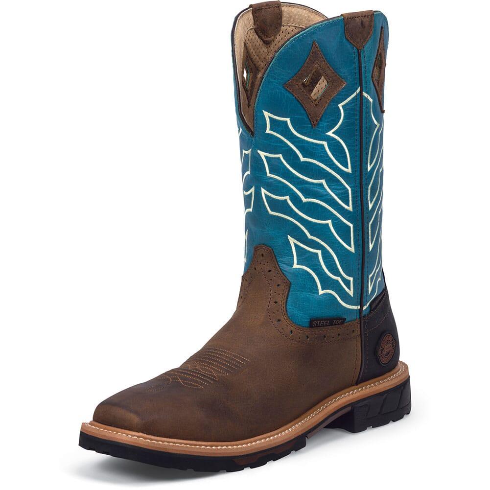 Justin Original Men's Derrickman Safety Boots - Brown/Turquoise