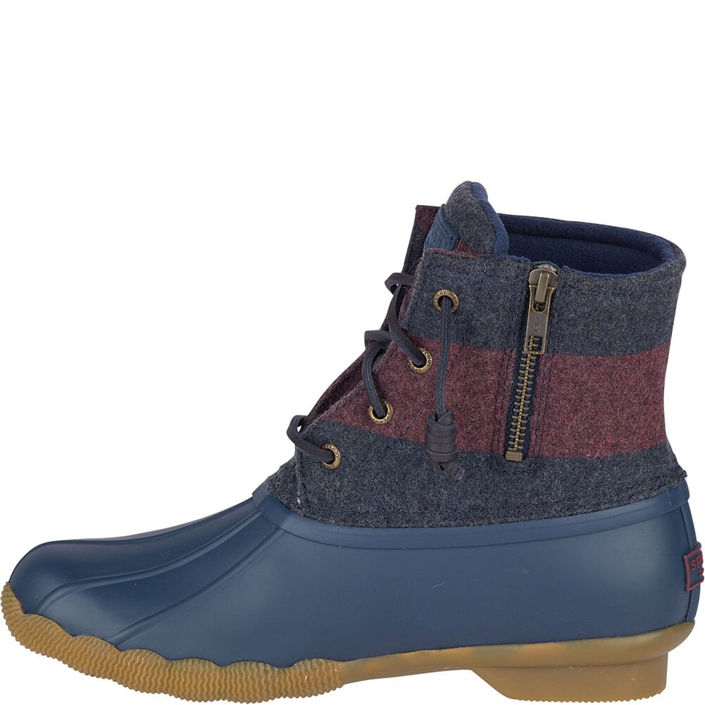 Sperry Women's Saltwater Varsity Stripe Duck Boots - Navy/Wine