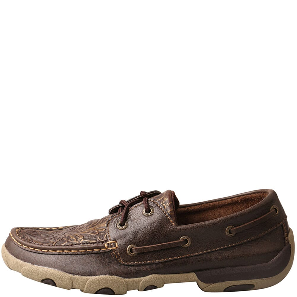 WDM0070 Twisted X Women's Boat Driving Moc Shoes - Brown/Emboss Flower