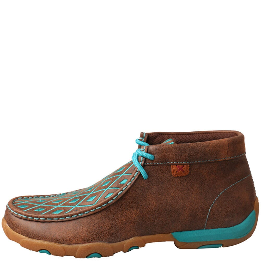 WDM0072 Twisted X Women's Driving Moc Chukka - Brown/Turquoise