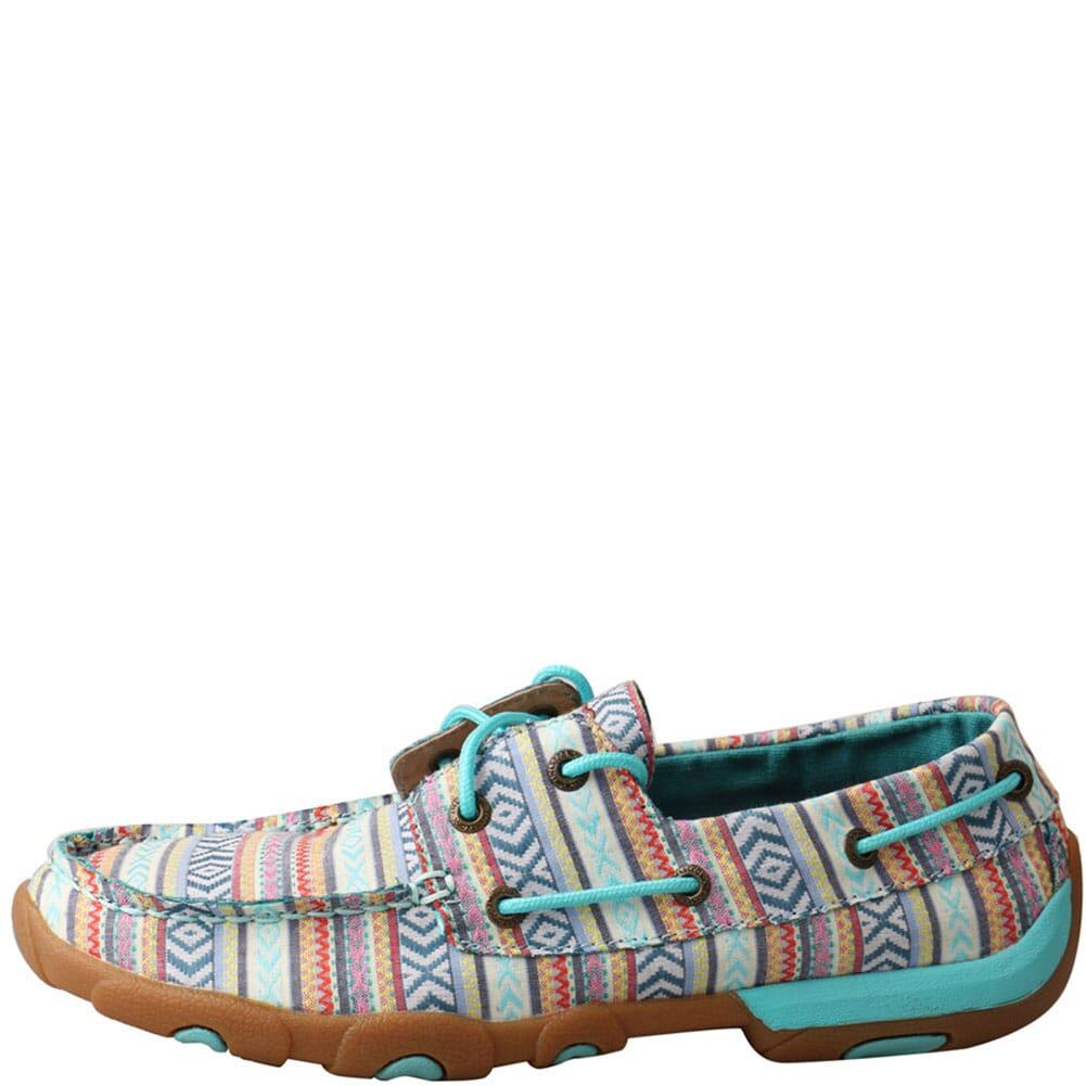 WDM0124 Twisted X Women's Boat Shoe Driving Moc - Turquoise/Multi