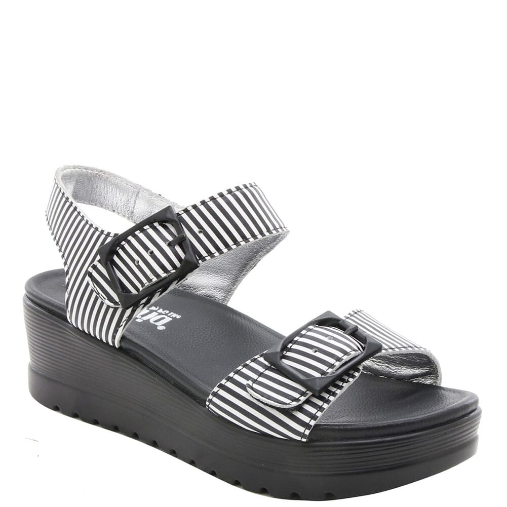 MOR-879 Alegria Women's Morgyn Flatform Wedge Sandals - Black Stripes