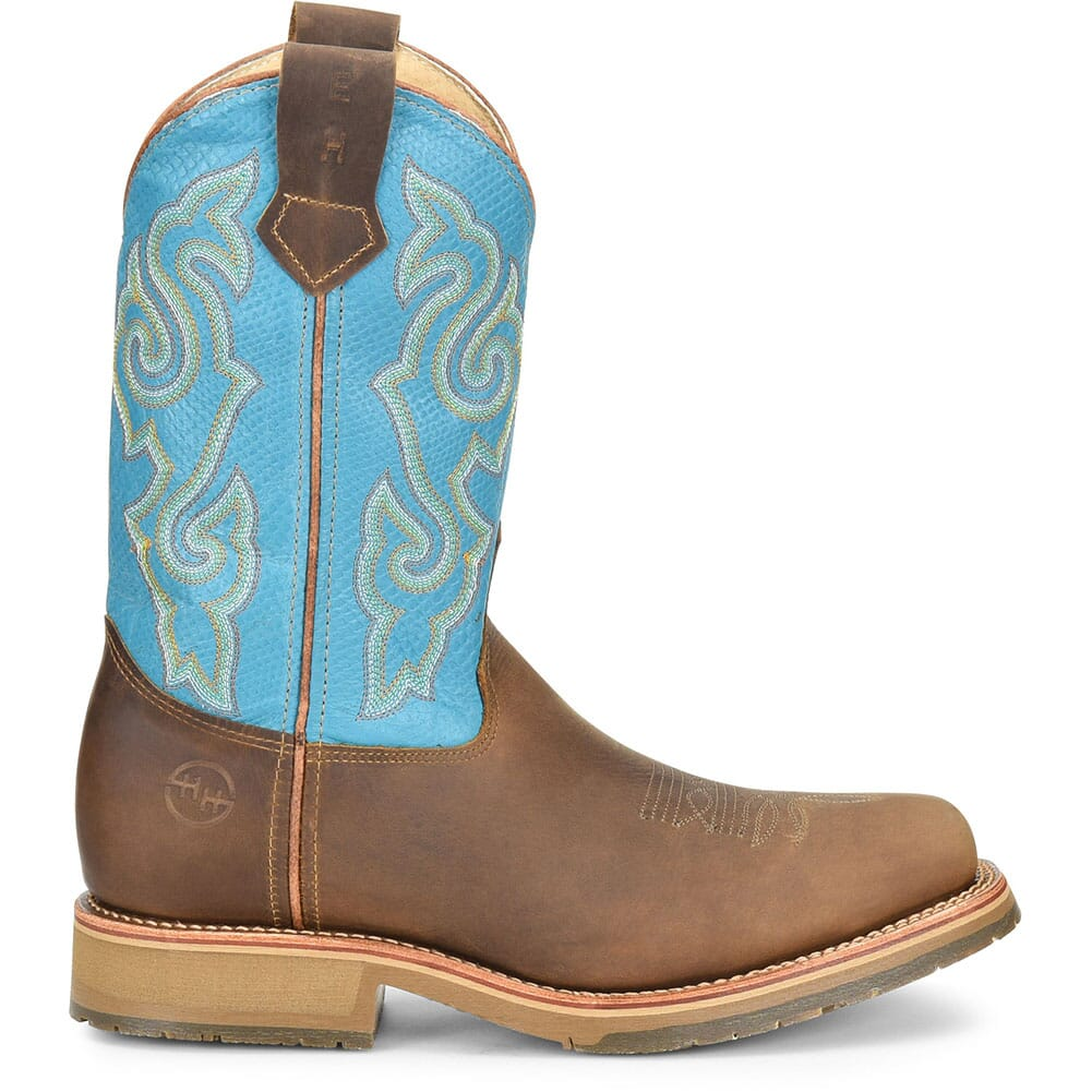 Double H Men's Domestic ICE Safety Ropers - Azul Arizona/Brown