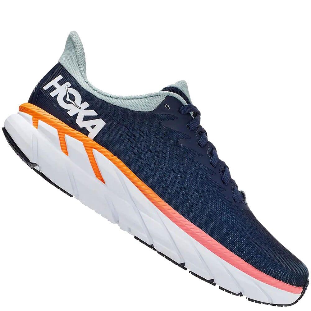 1110535-BIBH Hoka One One Women's Clifton 7 Wide Running Shoes - Black Iris/Blac