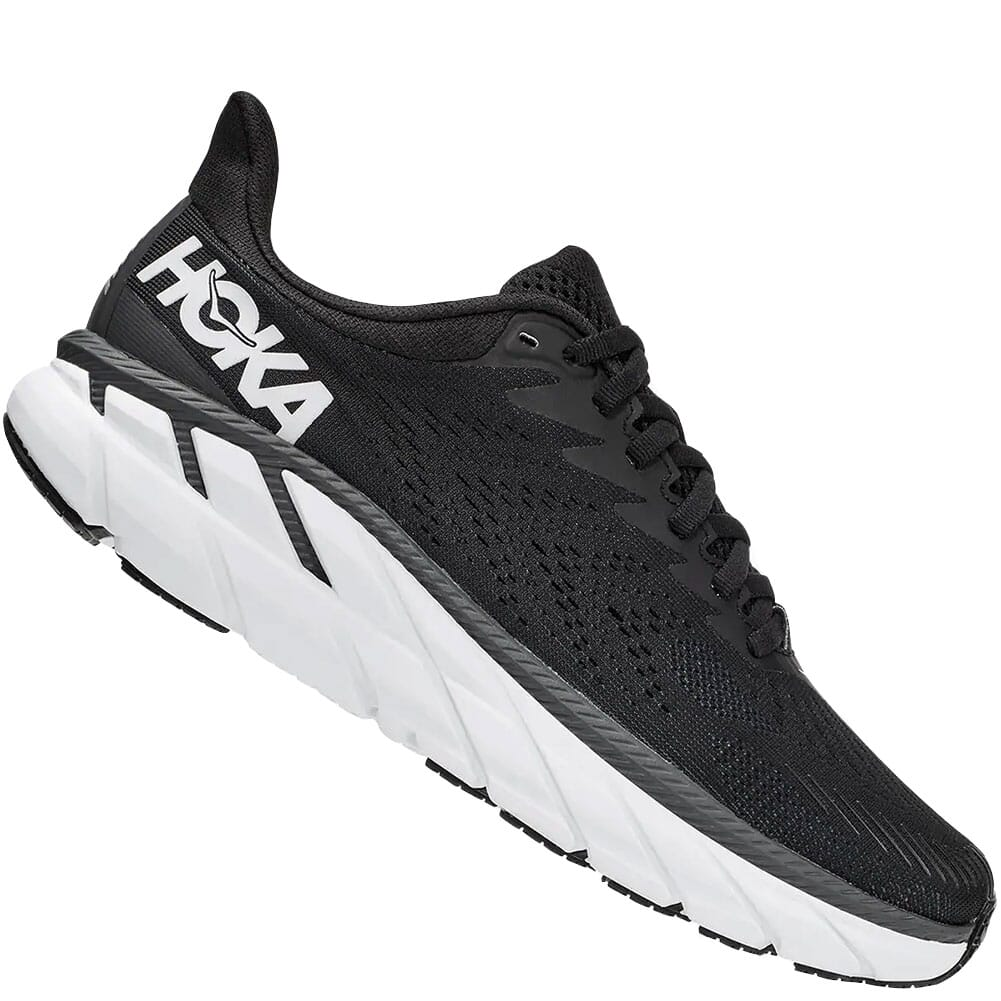 1110535-BWHT Hoka One One Women's Clifton 7 Wide Running Shoes - Black/White
