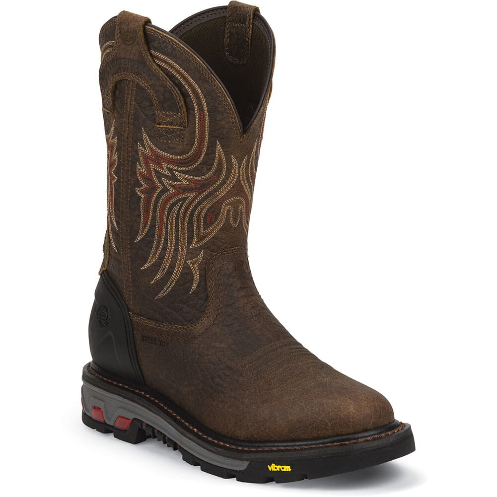 Justin Men's Commander-X5 WP Safety Boots - Mahogany/Brown