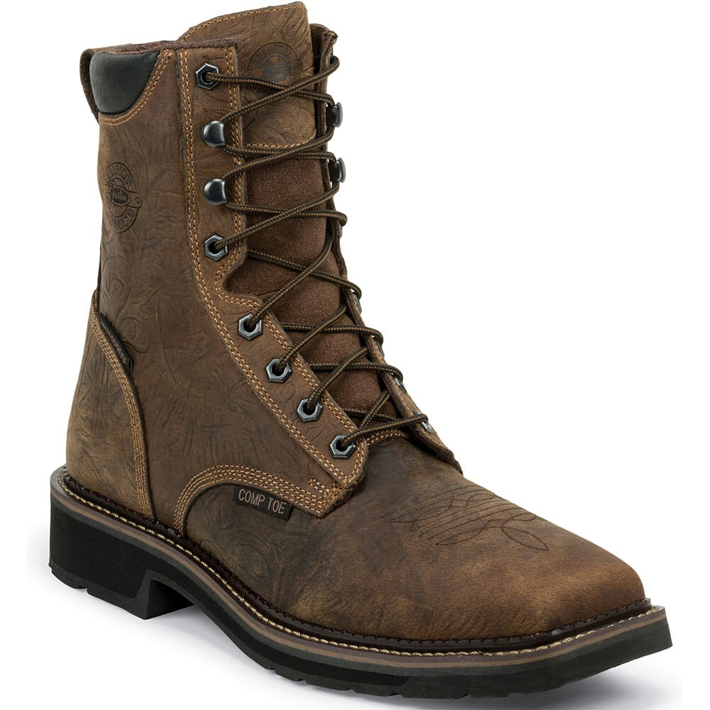 Justin Original Men's Driller WP Safety Boots - Rustic Barnwood
