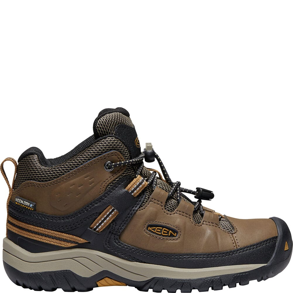 KEEN Kids' Targhee Waterproof Hiking Boots - Dark Earth/Golden Brown