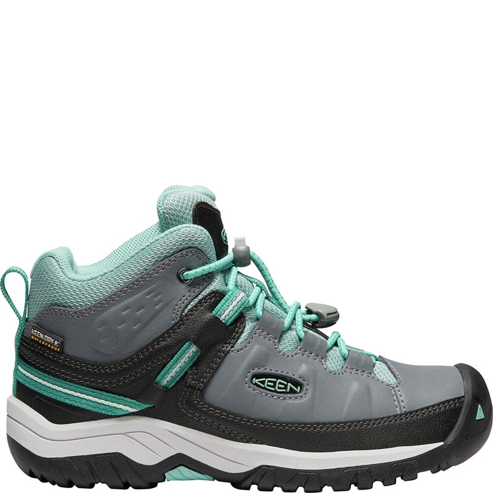 KEEN Kids' Targhee Waterproof Hiking Boots - Steel Grey/Wasabi