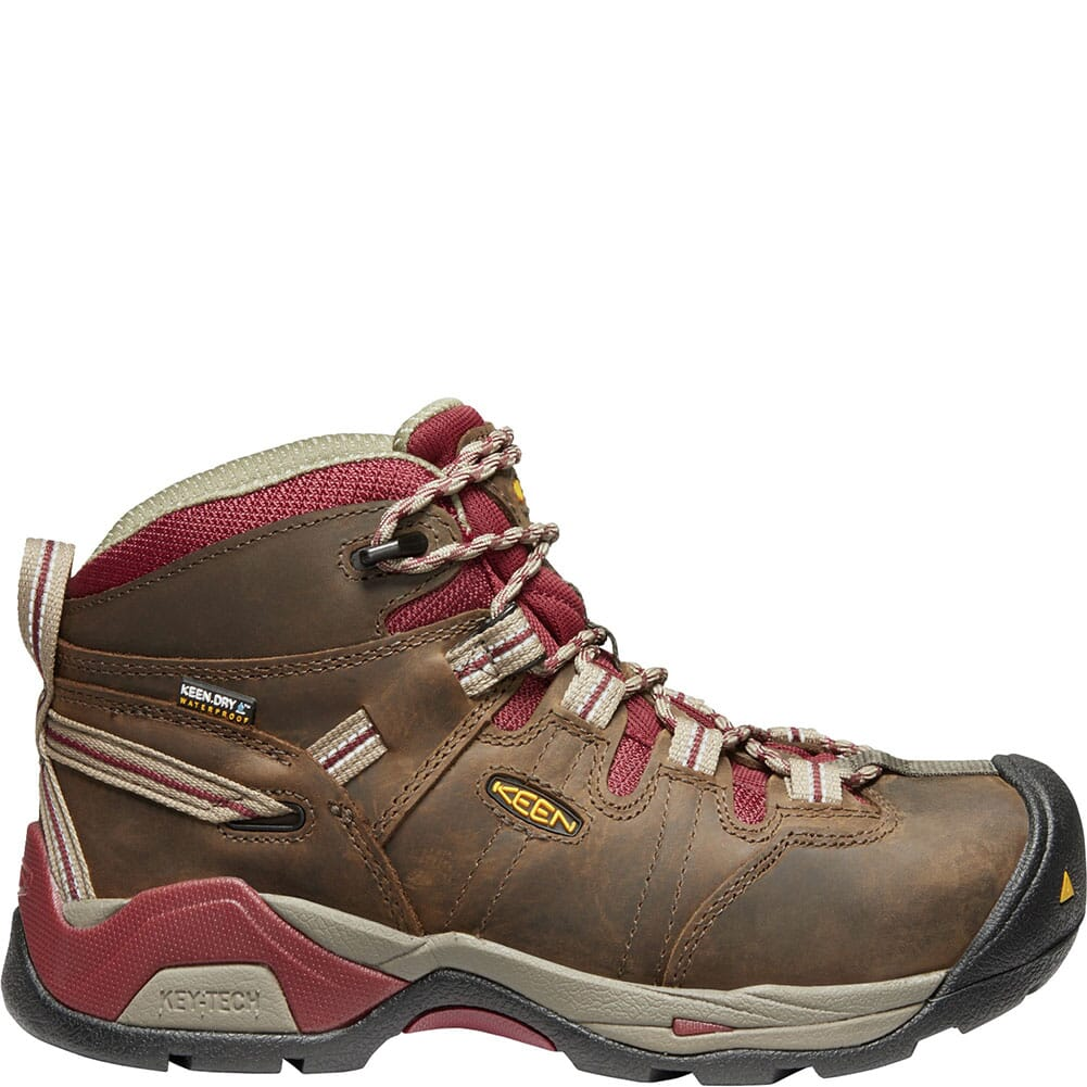 KEEN Women's Detroit XT WP Safety Boots - Black Olive/Tawny Red
