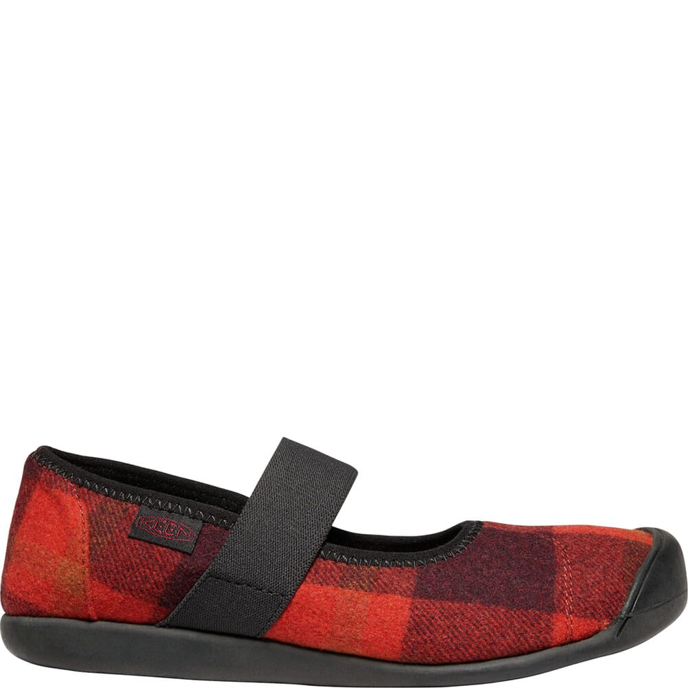 KEEN Women's Sienna Mary Jane Plaid Casual Shoes - Red/Black