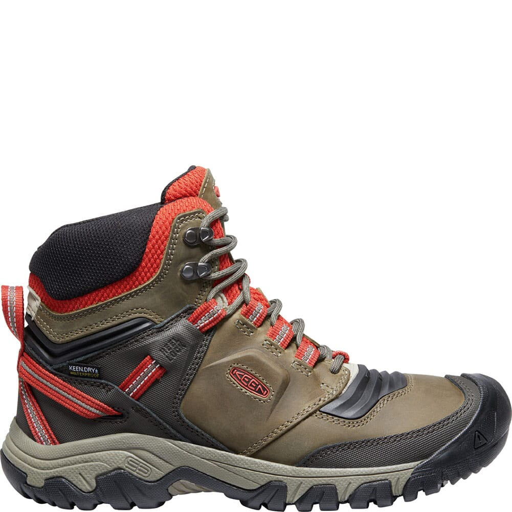 1024914 KEEN Men's Ridge Flex WP Hiking Boots - Dark Olive/Ketchup