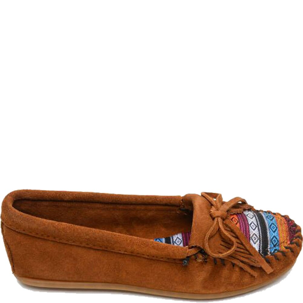 402K Minnetonka Women's Kilty Hardsole Moccasins - Brown/Arizona Fabric