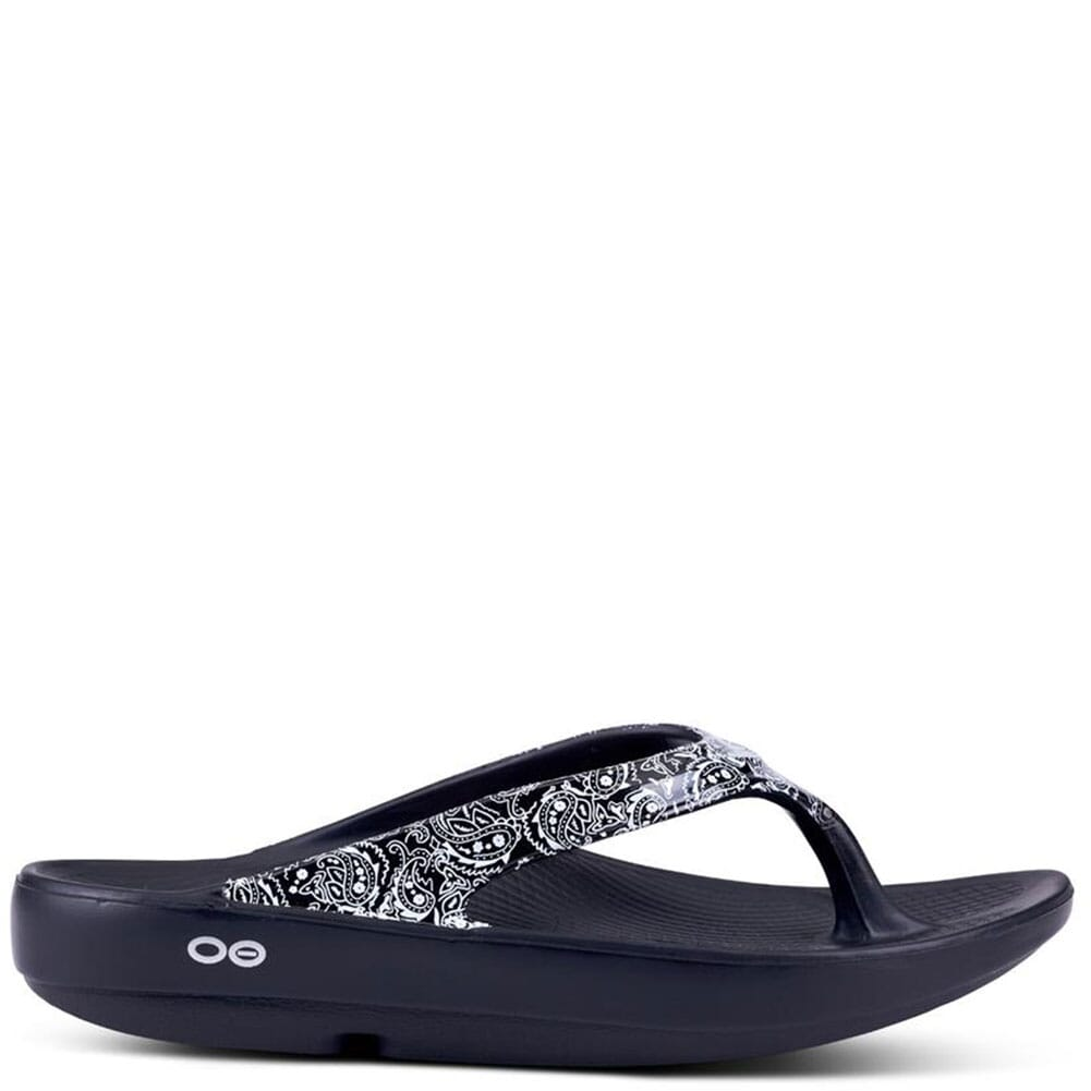 1403-WHTBAND OOFOS Women's OOlala Limited Sandals - Black/White