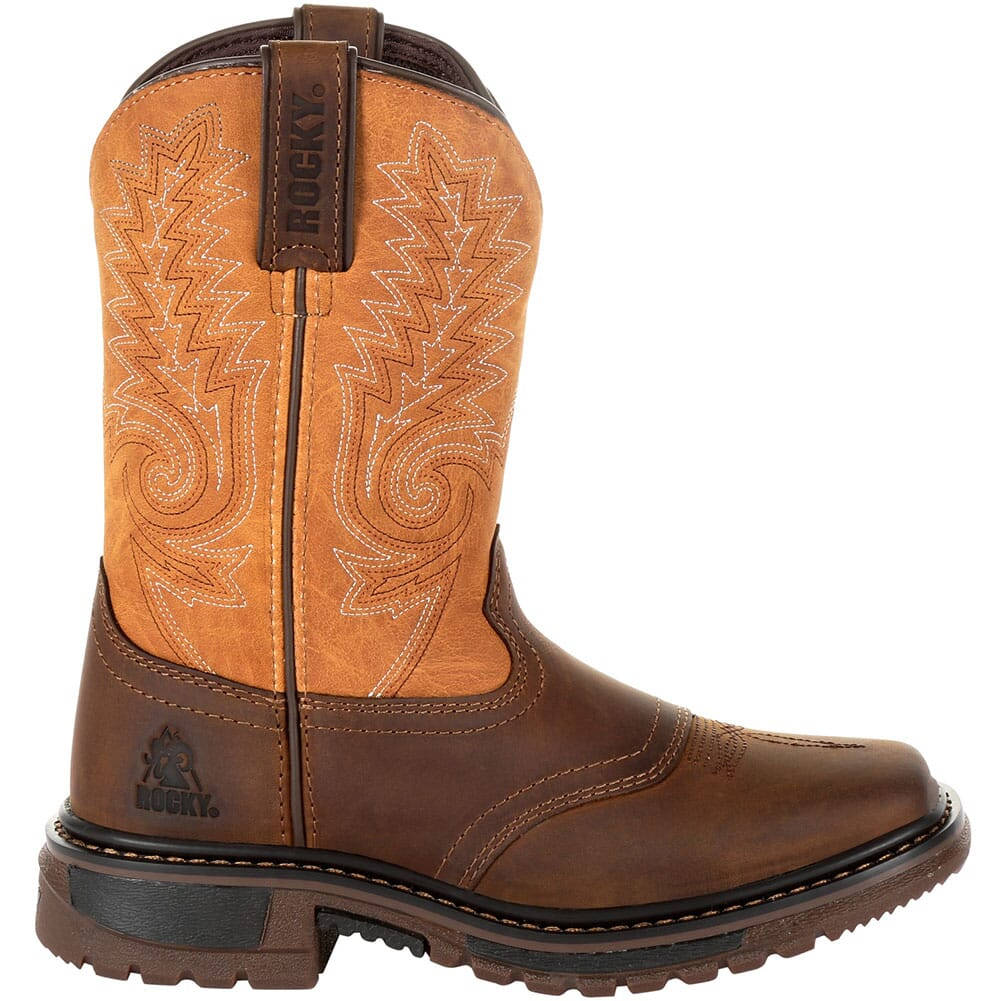 Rocky Big Kid's Ride FLX Western Boots - Brown/Orange