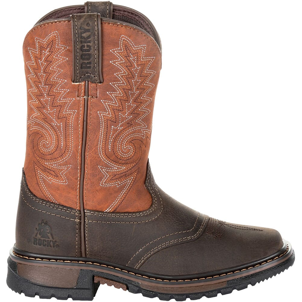 Rocky Big Kid's Ride FLX Western Boots - Dark Chocolate/Burnt Orange