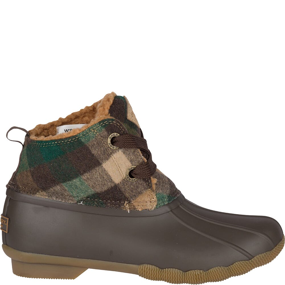 Sperry Women's Saltwater 2-Eye Plaid Wool Duck Boots - Brown/Green