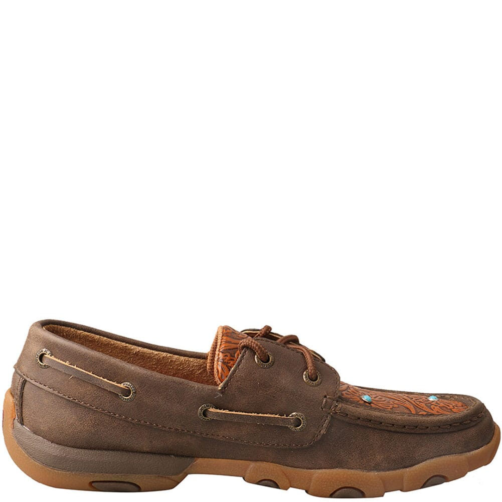 WDM0092 Twisted X Women's Boat Shoe Driving Moc - Brown/Tooled Flower
