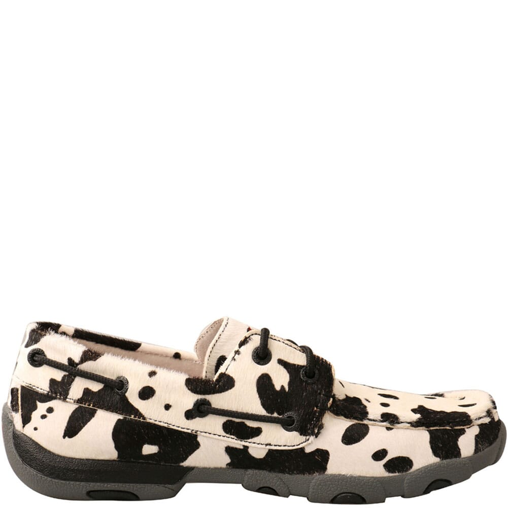 WDM0131 Twisted X Women's Boat Shoe Driving Moc - White/Black