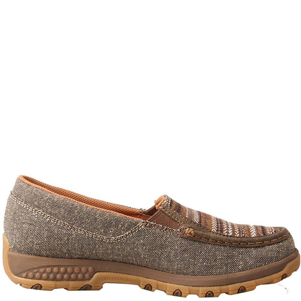 WXC0006 Twisted X Women's Driving Moc Boat Slip-On - Khaki/Grey Multi