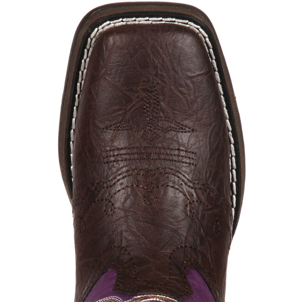 Lil' Durango Big Kid Western Boots - Dark Brown/Purple