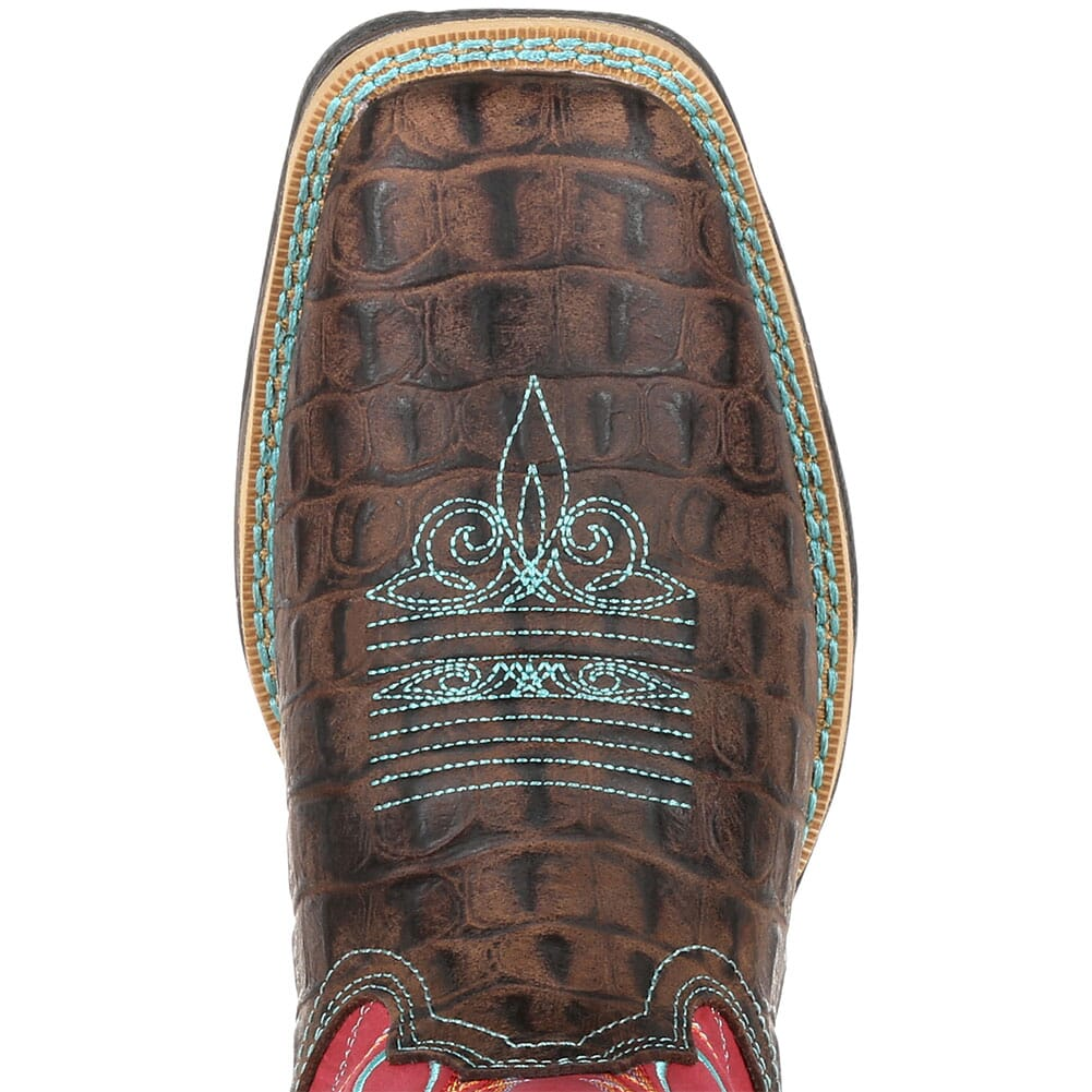 DRD0351 Durango Women's Lady Rebel Gator Emboss Western Boots - Electric Red