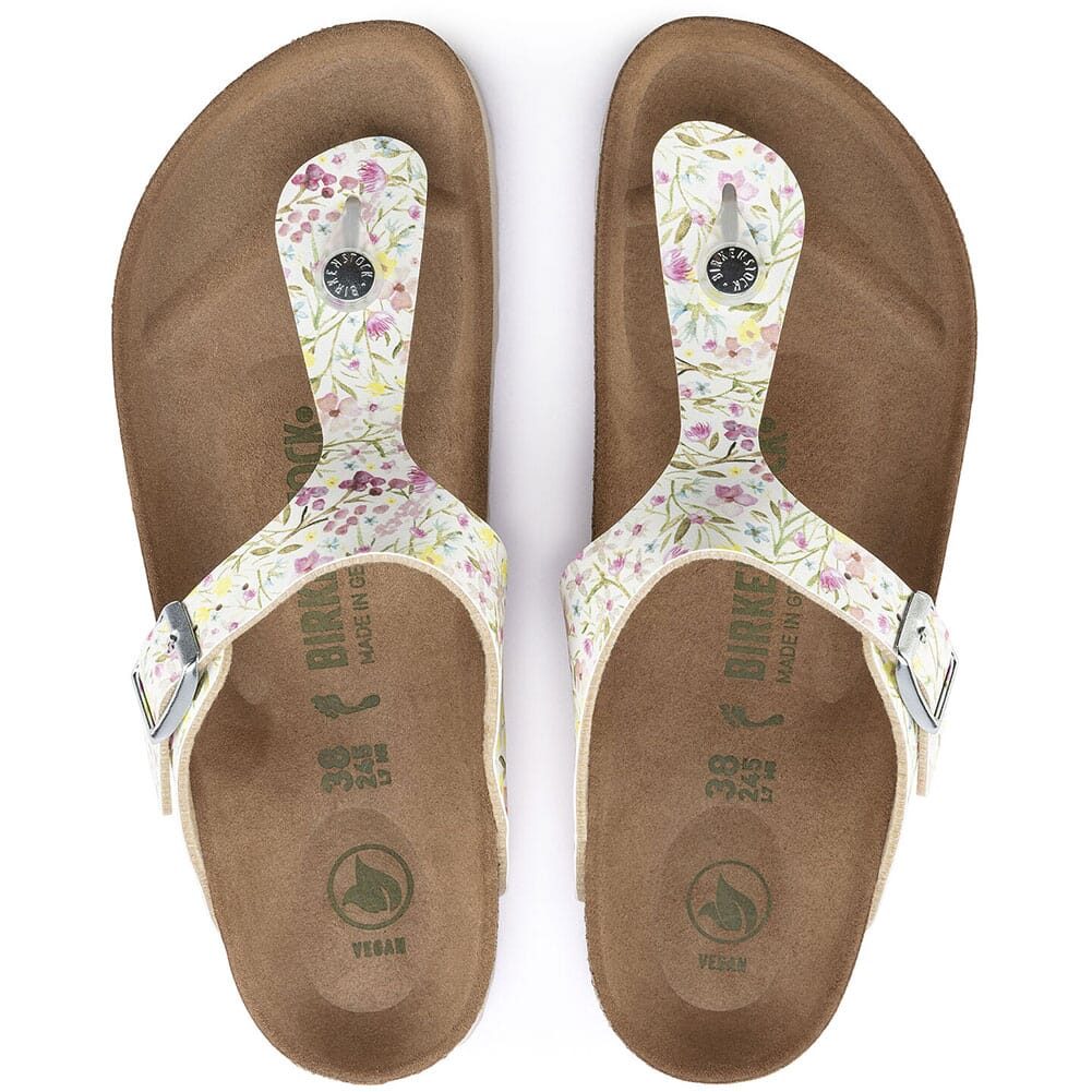 1018466 Birkenstock Women's Gizeh Vegan Sandals - Watercolor Flower White