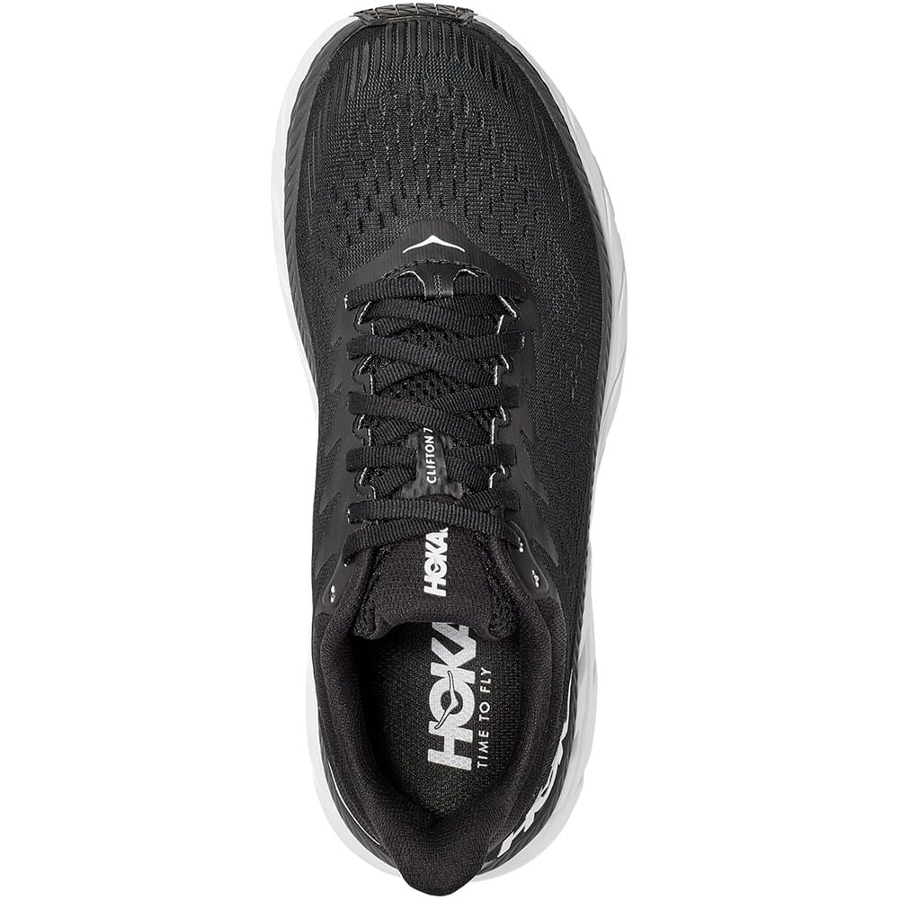 1110509-BWHT Hoka One One Women's Clifton 7 Running Shoes - Black/White