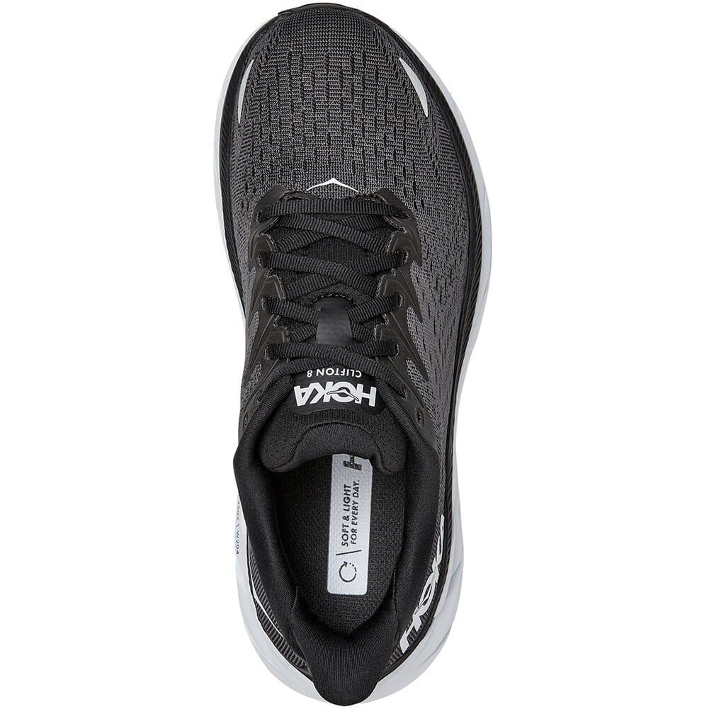 1119394-BWHT Hoka One One Women's Clifton 8 Athletic Shoes - Black/White