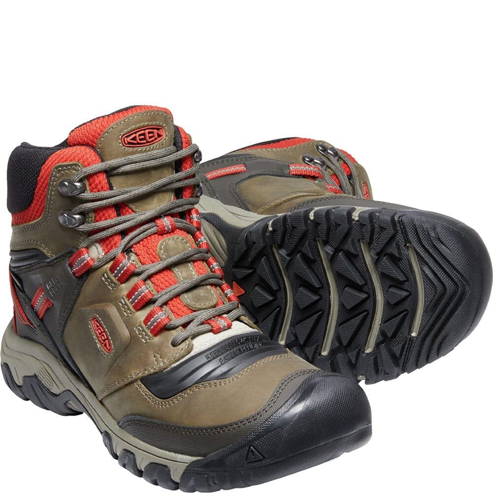 1024914 KEEN Men's Ridge Flex WP Hiking Boots - Dark Olive/Ketchup