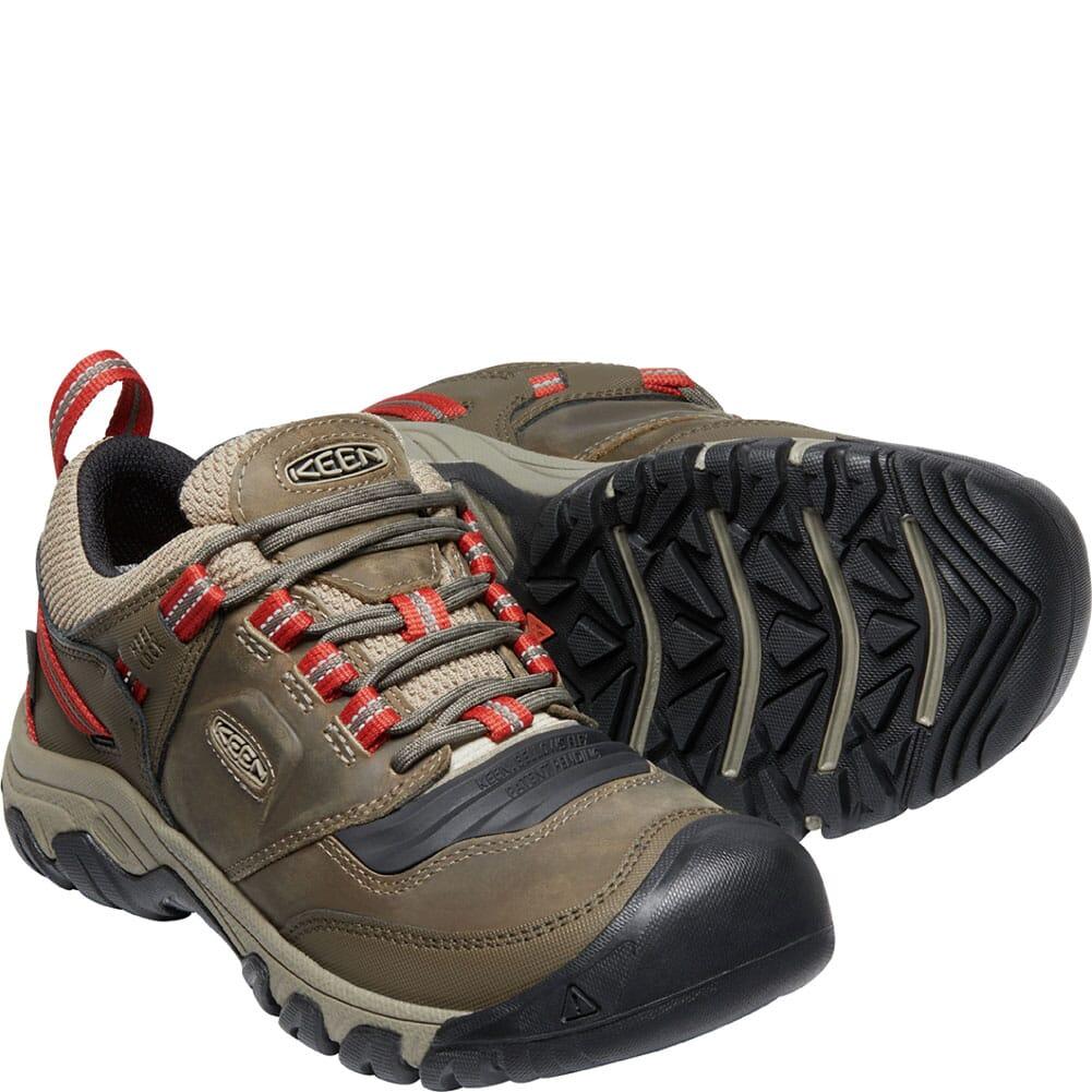 1024918 KEEN Men's Ridge Flex WP Hiking Shoes - Timberwolf/Ketchup