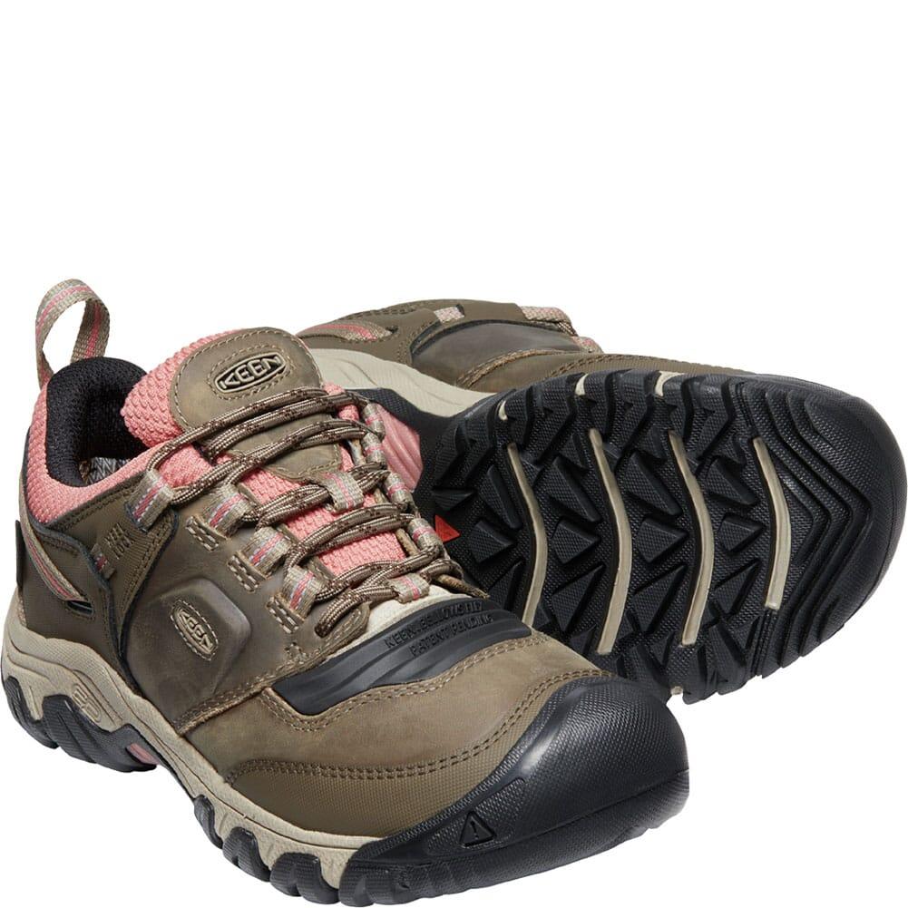 1025295 KEEN Women's Ridge Flex WP Hiking Boots - Timberwolf/Brick Dust
