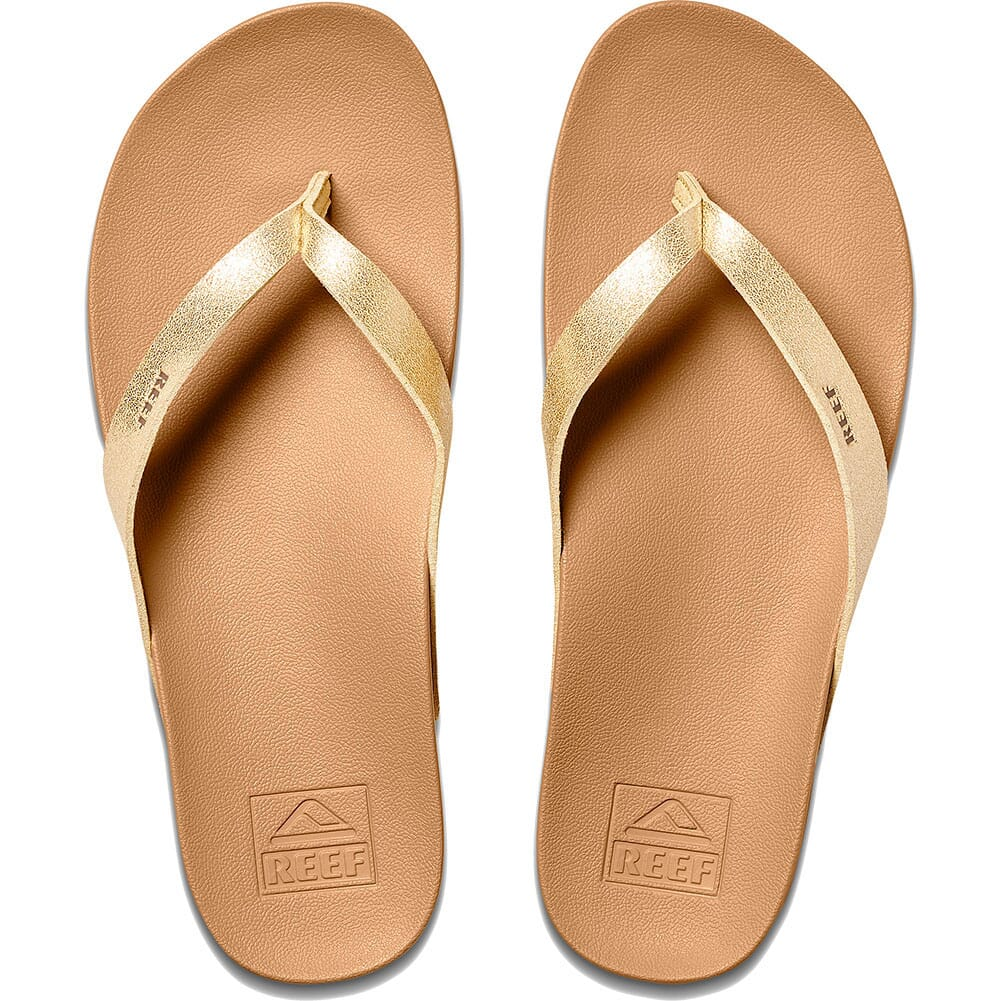 0A3FDS-TAH Reef Women's Cushion Court Flip Flops - Tan/Champagne