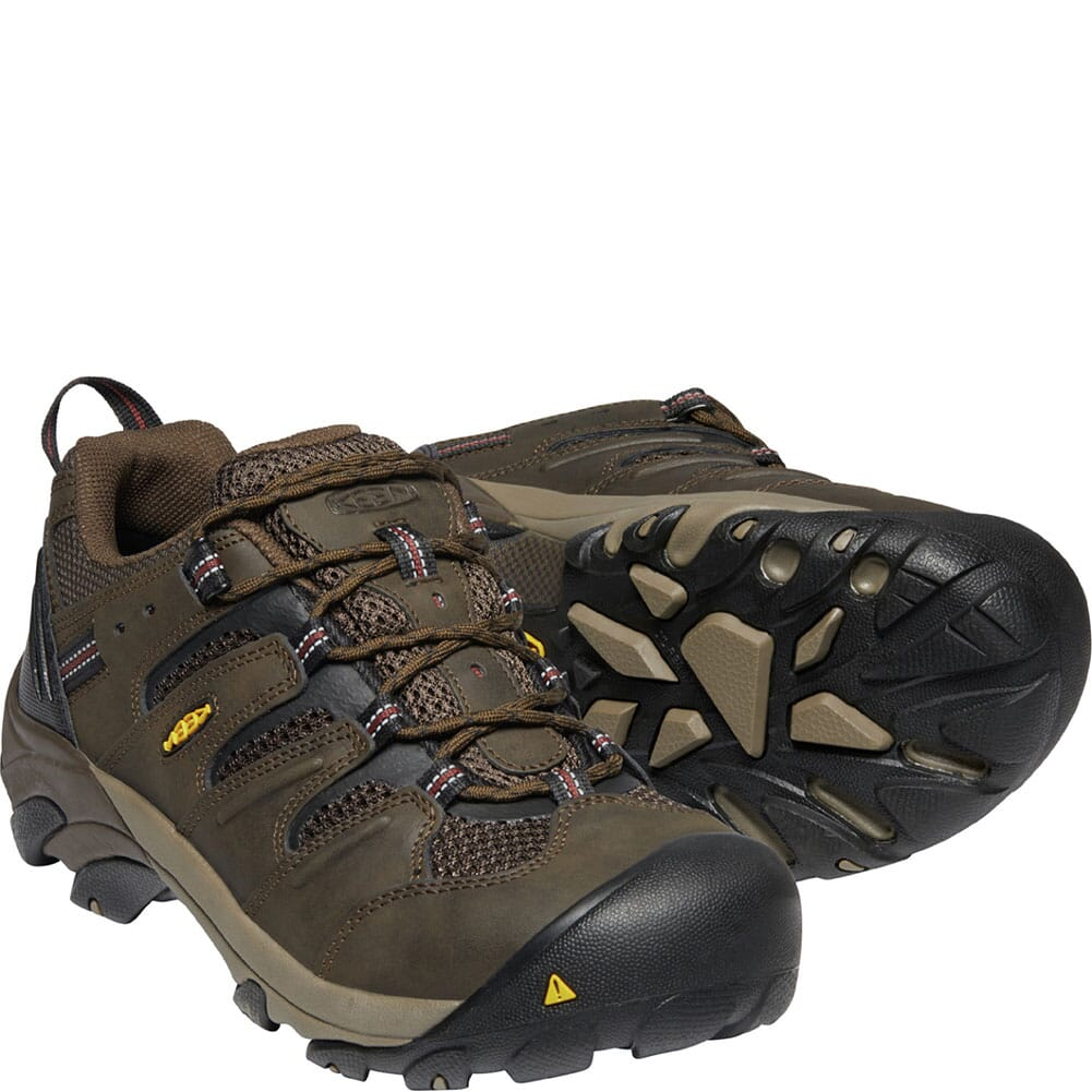 1023205 KEEN Utility Men's Lansing Low Safety Shoes - Cascade Brown/Fired Brick