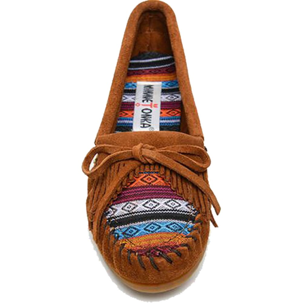 402K Minnetonka Women's Kilty Hardsole Moccasins - Browrizona Fabric