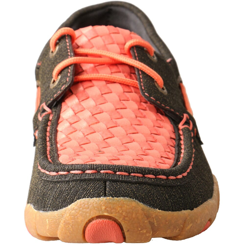 WDM0141 Twisted X Women's Boat Shoe Driving Moc - Woven Coral & Black