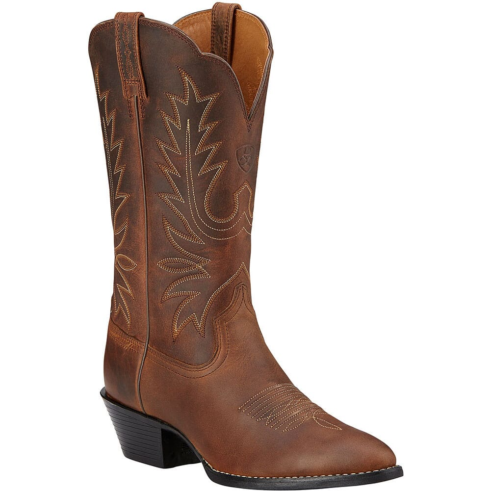 Image for Ariat Women's Heritage R Toe Western Boots - Distressed Brown from elliottsboots