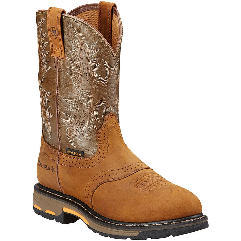 Image for Ariat Men's Workhog Work Boots - Bark/Green from bootbay