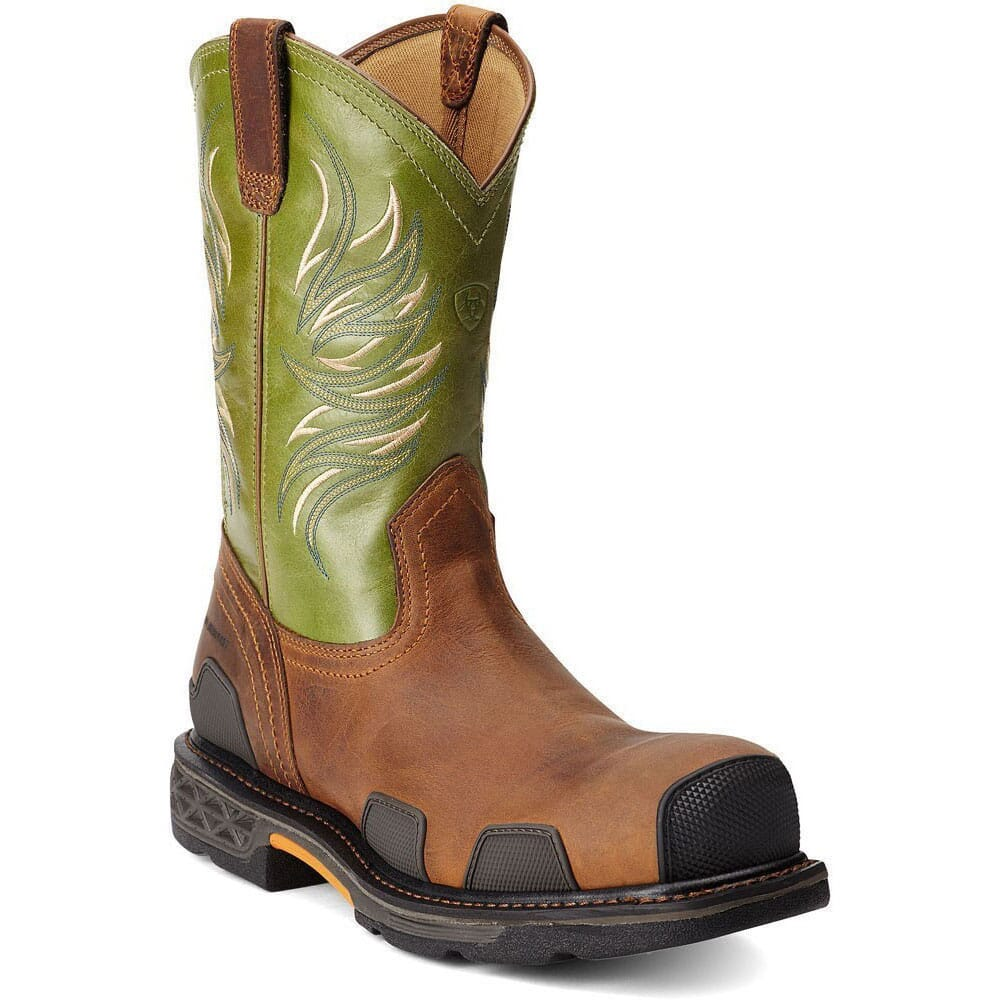 Image for Ariat Men's 11IN Overdrive Safety Boots - Toast/Lime from bootbay
